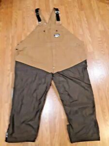 Dan's Briar Proof Hunting Bib Overall Gear Size 60 W 26 Made In USA Brown
