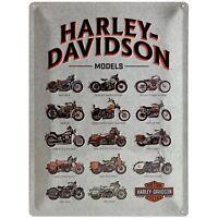 Harley Davidson Modelos Grande Relieve Letrero de Metal 400mm x 300mm (Na )