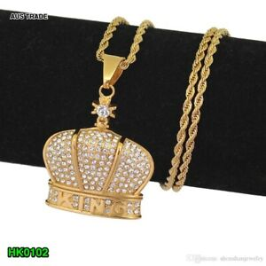 Men Iced Out Hip Hop Gold King Crown Pendant Necklace 3mm, 60cm Rope Chain