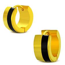 Zense - Boucles d'oreilles homme couleur or et bande noire ZE0060