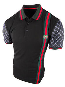 Mens Polo Shirt Sport Body Stripe Collar and Printed Sleeves Slim Fit Stretch