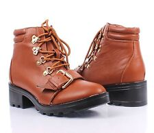 """3 Color Lady Lace Up Side Buckles Military 2"""" High Heels Womens Combat Boots"""