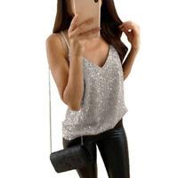Summer Women's Sleeveless Sequin Tank Tops Vest Ladies Party Blouse Shirt Top 03