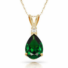 3.05CT Emerald Pear Shape 2 Stone Gemstone Pendant & Necklace 14K Yellow Gold
