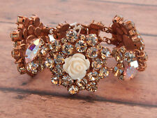 ANTHROPOLOGIE BRACELET DIMITRIADIS SWAROVSKI CRYSTAL COPPER FLOWER $358 #501