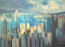 """Oil Painting of Hong Kong Upcoming Storm American Artist Nino Pippa 18""""X24"""""""