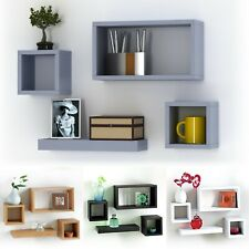 4 Wooden Floating Cube Shelves Wall Hanging Storage Display Decor Shelving Unit