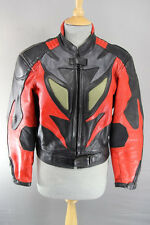 J&S BLACK, RED & SILVER LEATHER BIKER JACKET + REMOVABLE CE ELBOW ARMOUR SIZE 14