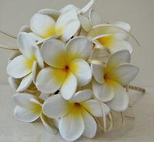 SILK WEDDING FRANGIPANI POSY BOUQUET LATEX WEDDING BOUQUETS FLOWERS WHITE YELLOW