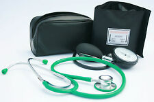 Black Aneroid Blood Pressure Monitor - Sphygmomanometer & Green Stethoscope