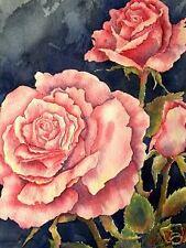 Rose Flowers Flower Garden  O/E Print  ACEO  by  Vicki