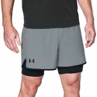Under Armour UA Mens HeatGear Grey Qualifier 2 In 1 Sports Training Shorts