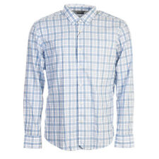 HUGO BOSS Shirt Blue & White Check Slim Fit Cotton Size Large TR 337