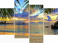 Large 4 Panel Set Wall Art Canvas Pictures Tropical Beach Sea Holiday Prints