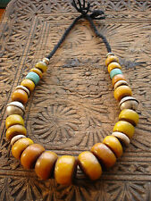 Moroccan large tarnished amber resin and malachite bead necklace