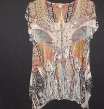 World Unity Women's XL Ivory Lace with Tie Sublimation Pull On Top Ulta Soft