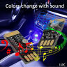 1x Car USB RGB Interior Atmosphere Wireless Light Mini Colorful Music LED Lamp