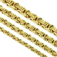 5mm Collar acero oro juego collar cadena bizantino cadena pulsera NUEVO