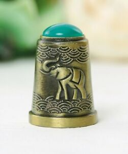 Thimble ELEPHANT Green Decor Solid Brass Metal Russian Souvenir Collection