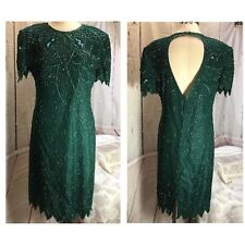 SILKY NITES Emerald Green Dress Med/Large SEQUIN BEAD Vintage Silk Formal Party