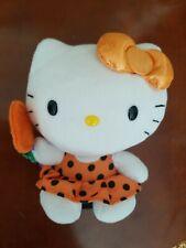 Sanrio Hello Kitty Halloween Ty Plush Beanie w/ Jack O'Lantern Lollipop Nwot