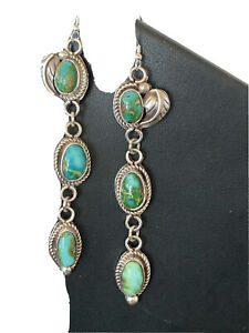 Girls Navajo Green Sonoran Gold TURQUOISE Sterling Silver 3 Dangle Earrings1215