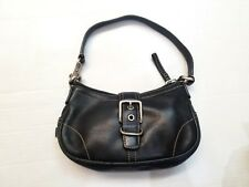 COACH 7542 Mini Hampton Black Leather Small Hobo Handbag Shoulder Bag Pre-owned