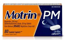 New Motrin PM Caplets (80 Count) Pain Reliever / Nighttime Sleep-Aid 200 Mg