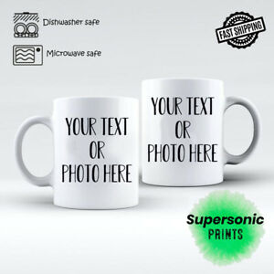 Personalised Photo Mug Custom Cup Text Image Name Logo Fathers Day Birthday Gift