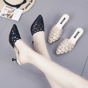 Womens Sandals Elegant Pumps Pointy Toe Comfy Kitten Heels Party Summer Slippers