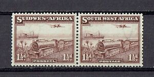 South West Africa 1931 1 1/2d Mail Transport on train. Pair unmounted mint MLH