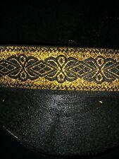 10 yds Awesome Jacquard Ribbon Trim , Black / Gold 1� Wide Nice Trim