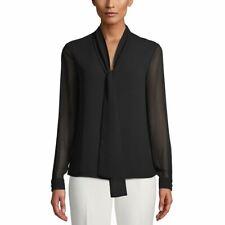 ANNE KLEIN NEW Women's Tie-neck Sheer-sleeve Blouse Shirt Top TEDO