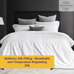 Premium 280GSM Cooling Mulberry Silk Filled Quilt All Season Doona Breathable