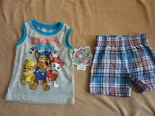 Boys PAW PATROL Summer Shorts & Top SET Outfit Chase Nick Jr. New with Tags