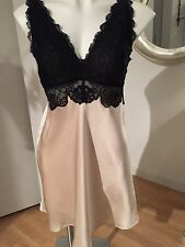 NKiMode Collection Champagne  Silk  with Black Lace  Size L Chemise gown