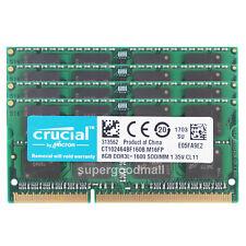 For Crucial 32GB 4X8GB 2Rx8 PC3L-12800S DDR3L-1600Mhz SODIMM Laptop Memory