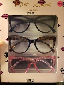 BETSEY JOHNSON Reading Glasses 3 Readers THICK BIG CAT'S EYE Blk/Tort/Pink RARE!