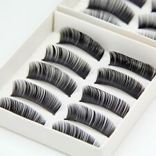 10 Pairs Natural False Eyelashes Fake Makeup Eye Lashes Lash with Glue - EU -