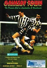 Football Programme>GRIMSBY TOWN v BRENTFORD Mar 1993