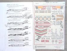 """CF/RF-101A/B/C VOODOO """"8 USAF/RCAF"""" ALMARK DECALS 1/48"""
