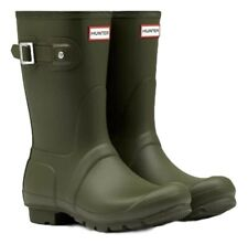 SALE New Ladies Short Hunter Wellies Wellington Boots Dark Olive Size 5