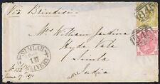 1871 SG 110 9d Straw GH and 3d Pl 6 GG Swanage Dorset to India Cat. £600.00