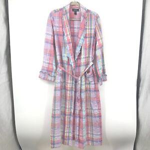 Lauren Ralph Lauren Women Medium Bath Robe Pink Blue Seersucker Plaid Ruffe Tie
