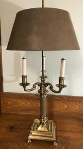 "Frederick Cooper Lamp Brass Tole Bouillotte Lamp 36"" Tall Original Shade"