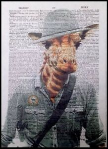 Giraffe Print Vintage Dictionary Page Wall Art Picture Animal In Wearing Clothes