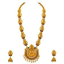Indian Fashion Jewelry Long Necklace Set Ethnic Gold Tone Traditional Laxmi Haar