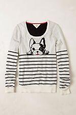 ANTHROPOLOGIE  HWR Monogram Top Dog Pullover Sweater Medium