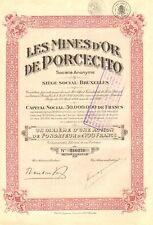 Colombia, Les Mines de ´Or de Porcecito SA, accion de fundador, 1928