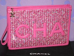 CHANEL Fantasy Tweed PVC Pochette Wristlet Large Clutch Accessory Case Bag RARE!